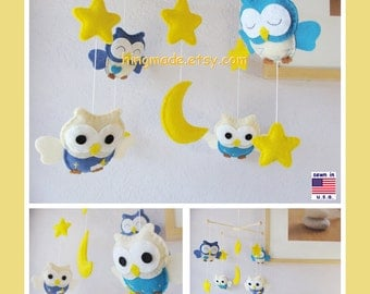 ON SALE !! Baby Mobile,Nursery Mobile,Baby Modern Nursery, Owl Mobile, Neutral Owl Mobile, Blue Owls in a Yellow Starry Night, Custom Mobile