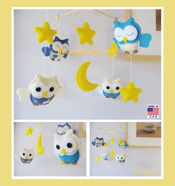 Baby Mobile,Nursery Mobile,Baby Modern Nursery, Owl Mobile, Neutral Owl Mobile, Blue Owls in a Yellow Starry Night, Custom Mobile