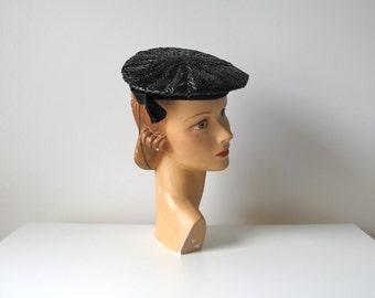 vintage 1940s hat / 40s straw tilt hat