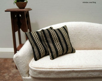 Black and gold stripe modern pillows - set of two - dollhouse miniature