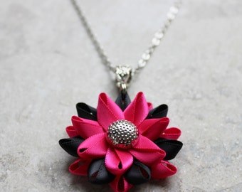Hot Pink Necklace, Hot Pink and Black Necklace, Hot Pink Jewelry, Fuchsia Necklace, Flower Pendant Necklace, Black and Hot Pink Wedding
