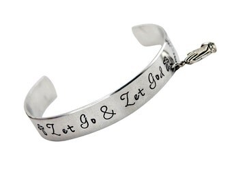Let Go and Let God Hand stamped cuff charm bracelet