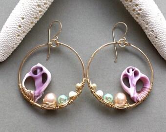 Purple Shell Hoops, Beach Shell Earrings, Seashell Hoop Earrings, Cebu Shell Earrings, Wire Wrapped Shell Hoop Earrings, Bohemian Hoops