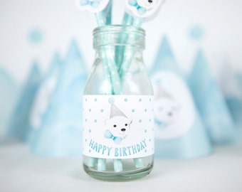 Printable Milk Bottle Labels for Boys First Birthday Party - Polar Bear Snow Theme Animal Party Printables, Light Blue Frozen Party Decor