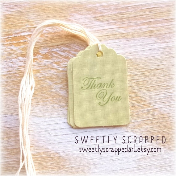 THANK YOU Tags ... Light sage, Elegant, Script Letters, Green, Dollar, Mystery Sale