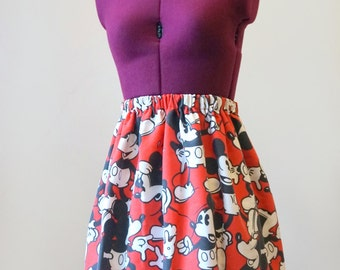 Red Mickey Mouse Skirt (xs, s, m, l, xl)