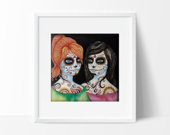 "Print Art Sugar Skull Day Of The Dead Spooky Haunted Girls Archival Pigment Ink Reperduction titled ""And No More Shall We Part"""