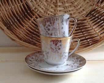 ELEGANT WINTERLING ROSLAU Vintage Demitasse Bavaria Cups and Saucers Made in Germany,  Porcelain,  Tea Cups, Espresso, Coffee
