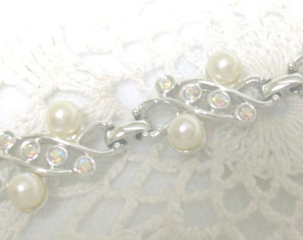 Sarah Coventry Silver Bracelet Faux Pearl Rhinestones //