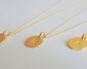 14k Gold Plated Initial Charm Necklace