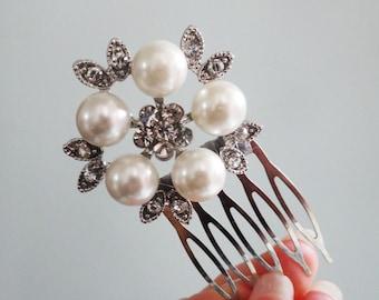 Bridesmaid Vintage Pearl Ivory Flower Leaf Art Nouveau Wedding Bride Small Comb