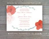 Wedding, Bridal Shower, Bridal Brunch, Engagement Party Invitation - Summer Blooms - Digital Printable File OR Professionally Printed Cards