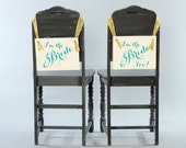 "Gay Brides Hanging Wedding Signs Set of 2 Chair Banners | Paper Graphic w/ Ribbon | Handmade in USA Homosexual Pride ""I'm The Bride Too"""