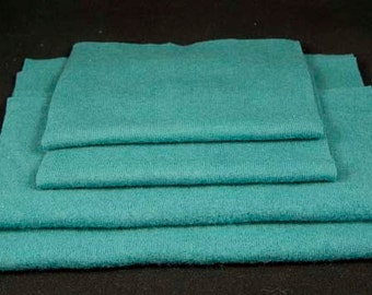 FELTED MERINO WOOL Upcycled Teal Blue Sweater Scraps Reclaimed Woolen Fabric Pieces 1400