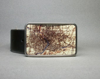 Belt Buckle Vintage Rochester New York Map Unique Mens or Womens Gift