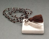 Tassel Necklace, Sterling Silver Long Leaf and Brown Tassel Necklace, Long Everyday Bohemian Necklace, Hippy Chic Gift for Her Necklace