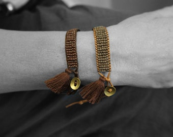 Bead Woven Bracelet, Beaded Cuff Bracelet, Tassel Bracelet, Brown Boho Wrap Bracelet, Hippie Bracelet, Friendship Bracelet Gift for Her/Him