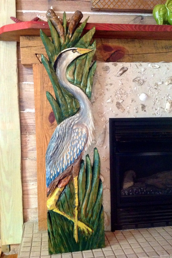 Blue Heron 4ft. detailed chainsaw carving lowcountry wooden shore bird indoor outdoor home decor wall mount original wild bird sculpture art