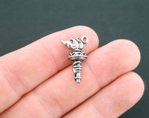 2 Torch Charms Antique Silver Tone 3 Dimensional - SC601