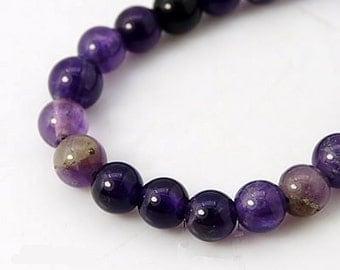 15 Purple Amethyst Beads 6mm - Natural Amethyst Beads - BD576