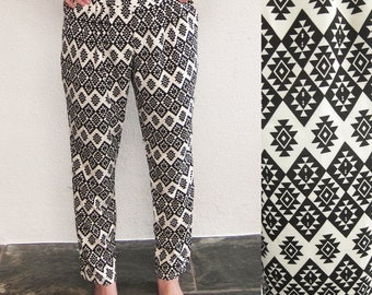 BLACK FRIDAY SALE Pants Harem Trousers Aztec Yoga Boho Gypsy Palazzo Bohemian Moroccan Hippie Black White Aladin Geo Print Meditation Eco