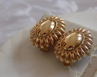 """Vintage earrings,signed """"W.Germany"""" earrings, elegant dressy golden flower clip-on earrings, vintage jewelry"""