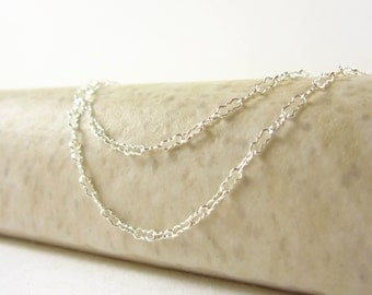 KRINKLE - 16, 18, or 20 Inch - Sterling Silver Necklace - Peanut Chain - Delicate Chain - Finished Chain - Krinkle Chain Link - Fancy Chain