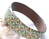 Flowers boho bangle bracelet medium sized polymer clay bracelet in green and yellow shades romantic bohemian
