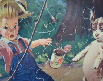 Vintage Child's Puzzle Fairchild Corp Raymond James Stuart Boy Dog Fishing Child's Nursery Decor