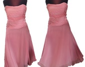 """Vintage Bloomingdales Pink Rose Ombre Silk Ruched Strapless Dress Size 14 Bust 37"""" Evening Dress Wedding Sheer Bridesmaid Dress 168"""" Sweep"""