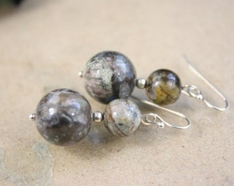 Brown Opal Gemstone Earrings with 925 Sterling Silver French Wire hooks