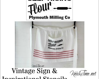 "Farmhouse Flour Sack Stencil with free 1"" Bristle Stencil Brush"