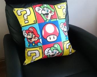 Nintendo mario luigi question block toad pattern square windows character logos multi cushion covers