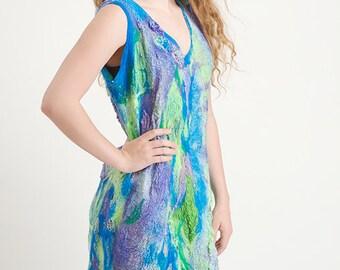 Nuno felted dress, OOAK wool Art to Wear dress.