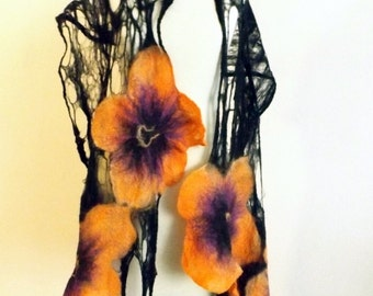 Felted  Shawl, wool wrap,  wool shawl, felted scarves, scarf  for evening dress, wedding, party, black and orange
