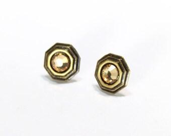 Antique Gold Octagon Shaped Swarovski Crystal Studs