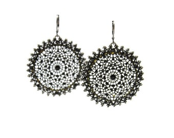 Large Black Mesh Lace Earrings with Swarovski Crystals