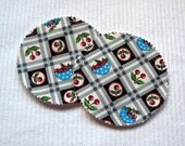 Organic Nursing Pads Bamboo Fleece with PUL - White and Grey with Cherries - 2 Pads - READY To SHIP