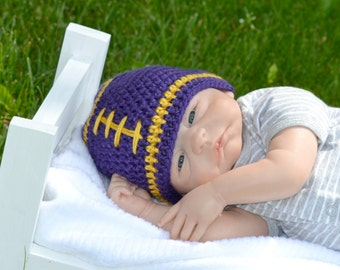 Crochet Baby Football Beanie - Newborn to Adult - Purple and Gold - MADE TO ORDER