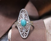 Original filigree design, handcrafted sterling silver filigree ring with 7x5 mm chinese turquoise.