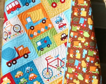 Truck Baby Boy Quilt Bermuda Brown Yellow Red Toddler Bedding Vehicle Car Bike Buses Dump Truck Ready Set Go Ambulance Fire Truck Blue Green