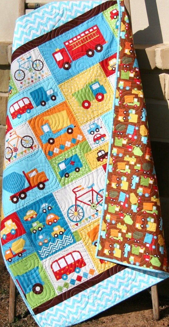 Truck baby boy quilt bermuda brown yellow red toddler bedding for Little blue truck fabric
