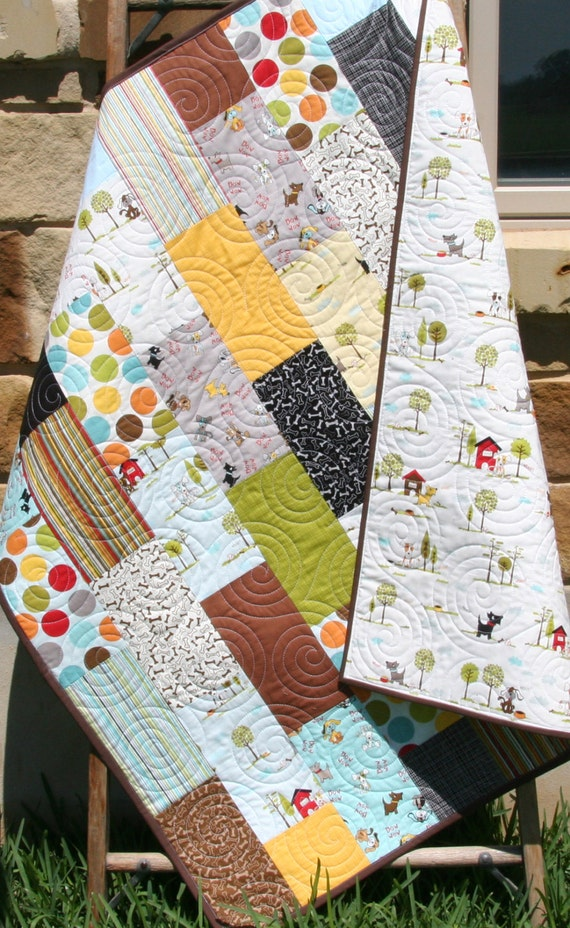 Puppy Quilt Baby Boy Patchwork Kids Baby Toddler Nursery Dog