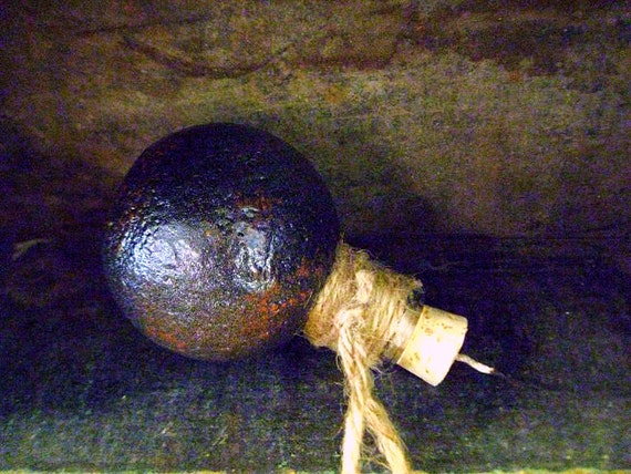 Pirate Grenade Glass Rum Bottle / flask - Original OOAK