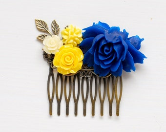 Cobalt Blue and Yellow Flower Hair Comb Blue Rose Hair Comb Cobalt Blue Wedding Bridal Hair Comb Bridesmaids Gift Something Blue