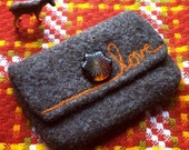 Brown Felted Pouch - Orange Needle Felted Love - Vintage Tortoise Shell Button