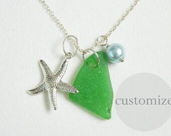 CUSTOM Green Sea Glass Charm Necklace, Pearl, Starfish, Silver, Genuine Beach Glass Jewelry, Eco Friendly, Surf Tumbled Seaglass