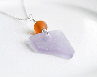 Purple Sea Glass Necklace, Genuine Chesapeake Bay Beach Glass Jewelry, Amber Recycled Glass Pendant