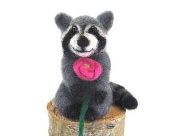 Needle Felted Raccoon Sculpture. Raccoon Animal. Animals Miniature. Animal Felted. Needle Felt Raccoon. Needle Felt Animals. Woodland Animal