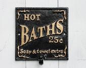 Jet Black Bathroom Hot Bath Hook-Cast Iron Sign-Metal Wall Hook-Hook-Bathroom Fixture-Ebony Black-French Decor-Gold Letter-Spring Home Decor